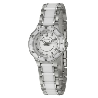 Bulova Women's Stainless Steel and Ceramic Diamond Watch