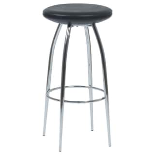 Euro Style Bernie Black Upholstered Barstool (Set of Two)