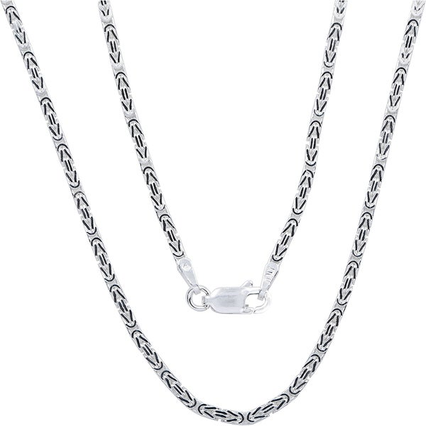 Fremada Sterling Silver 1.8mm Square Byzantine Chain (18-36 inch)