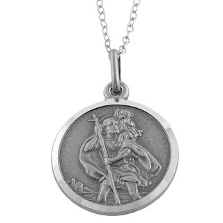 Fremada Oxidized Sterling Silver St. Christopher Medal Necklace