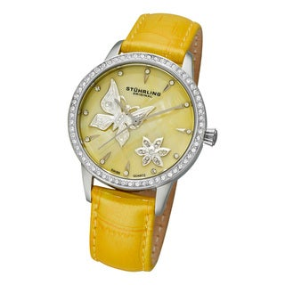 Stuhrling Original Women's 'Verona Mariposa' Leather Strap Watch