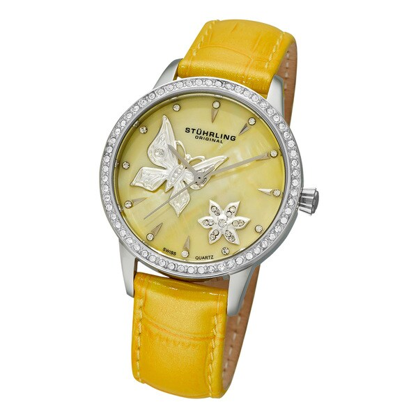 Stuhrling Original Women's 'Verona Mariposa' Leather Strap Watch