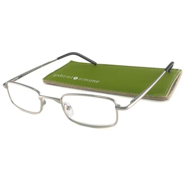 Gabriel+Simone Readers Men's Classique Silver Rectangular Reading Glasses