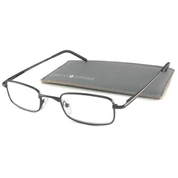Gabriel+Simone Readers Men's Classique Gunmetal Rectangular Reading Glasses