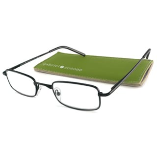 Gabriel+Simone Readers Men's Classique Black Rectangular Reading Glasses