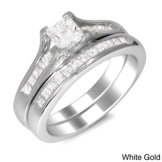 14k Gold 1ct TDW Princess-cut Diamond Bridal Ring Set (H-I, SI2)