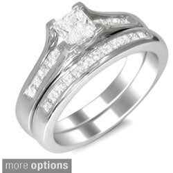 14k Gold 1ct TDW Princess-cut Diamond Bridal Ring Set (H-I, SI2)