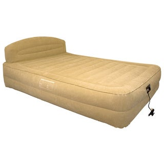 Airtek Queen-size Raised Air Bed with Headboard and Built-in Pump with Bonus Fitted Sheet