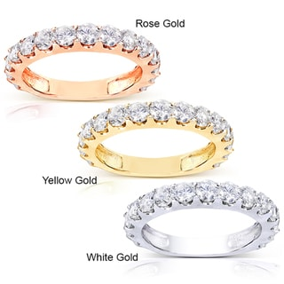 Annello  14k Gold 1 1/2ct TDW Semi-Eternity Diamond Wedding Band (G-H, I1-I2) with Bonus Item