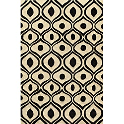 Hand Tufted Modern Waves Black Polyester Rug (8' x 10')