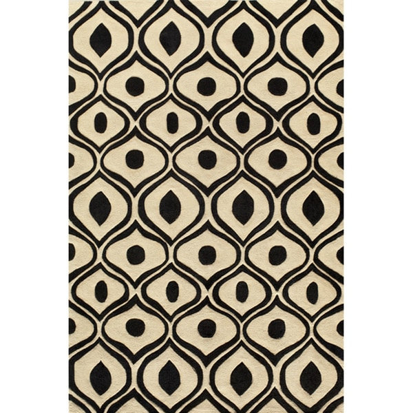 Modern Waves Black Hand-Tufted Rug (8' x 10')