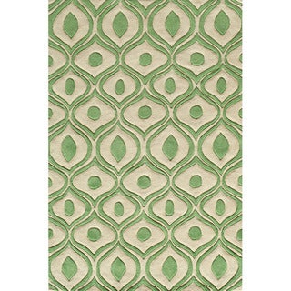 Hand Tufted Modern Waves Green Polyester Rug (5'0 x 7'6)