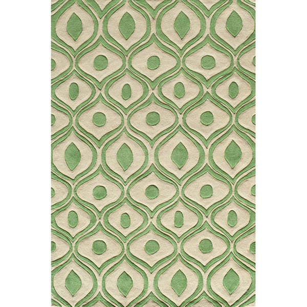 "Modern Waves Green Hand-Tufted Rug (5' x 7'6"")"