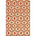 Hand Tufted Modern Waves Orange Polyester Rug (3'6 x 5'6)