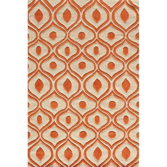 "Modern Waves Orange Hand-Tufted Rug (5' x 7'6"")"