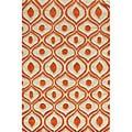 Hand Tufted Modern Waves Orange Polyester Rug (8' x 10')