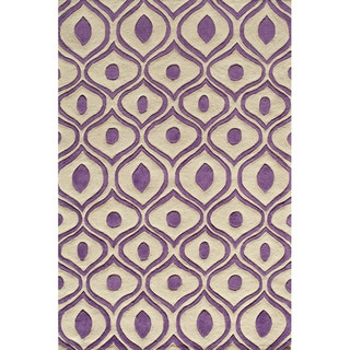 Hand Tufted Modern Waves Purple Polyester Rug (5'0 x 7'6)