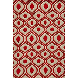Hand Tufted Modern Waves Red Polyester Rug (3'6 x 5'6)