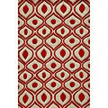 Hand-Tufted Modern Waves Red Polyester Rug (5'0 x 7'6)