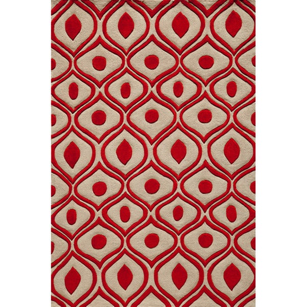 Modern Waves Red Hand-Tufted Rug (8' x 10')