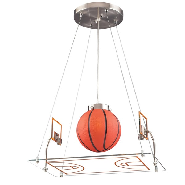 Elk Lighting Hoops Basketball Court 1-Light Satin Nickel Pendant