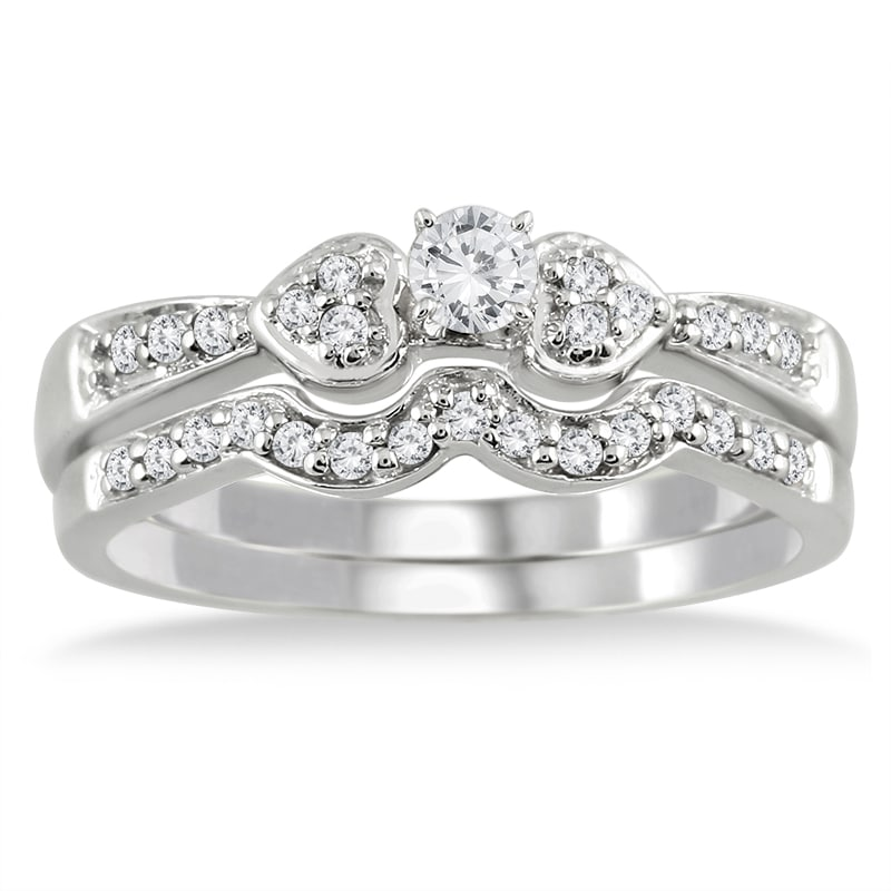 10k White Gold 1/3ct TDW 2-Piece Diamond Ring Set (I-J, I1-I2)
