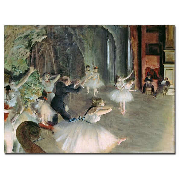 Edgar Degas 'The Rehearsal of the Ballet on Stage' Canvas Art