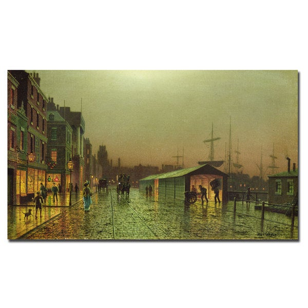 John Grimshaw 'Liverpool Docks' 24-Inch Canvas Art