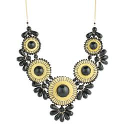 Handcrafted Black Glass Beads/ Threaded Medallions Necklace (India)