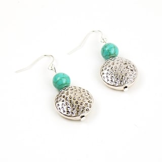 Pretty Little Style Silvertone Turquoise Dangle Earrings