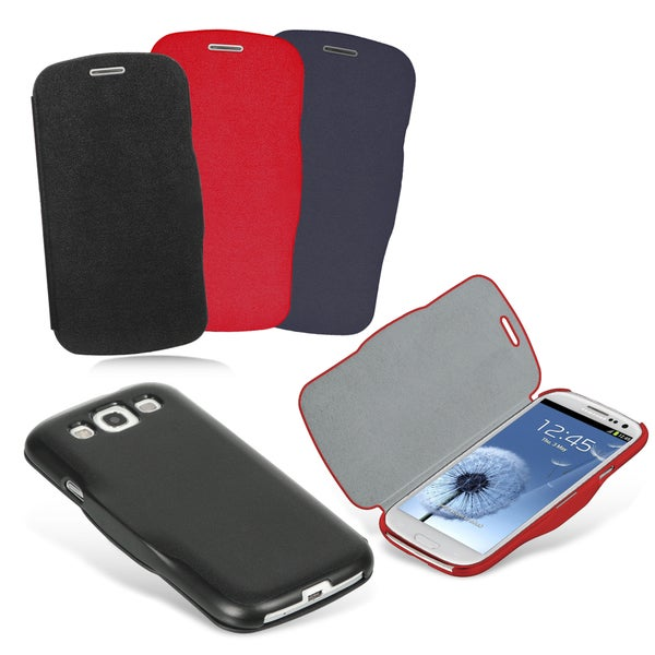Samsung Galaxy S III / i9300 Leatherette Designer Flip Case and Screen Protector