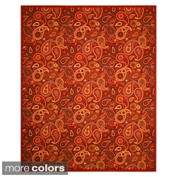 Euro Home OS910 Beige/ Red Rug (5'3 x 7'3)