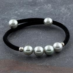 Velvet Bracelet Beaded With Simulated Grade A Freshwater Pearls (Thailand)