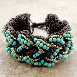Cotton Waxed Thread Bracelet Beaded With Turquoise and Brass Beads (Thailand)