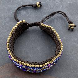 Cotton Waxed Thread Bracelet Beaded With Crystal Glass and Brass Beads (Thailand)
