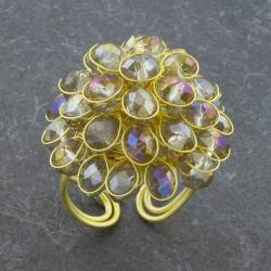 Yellow Crystal Glass Adjustable Size Cluster Brass Ring (Thailand)