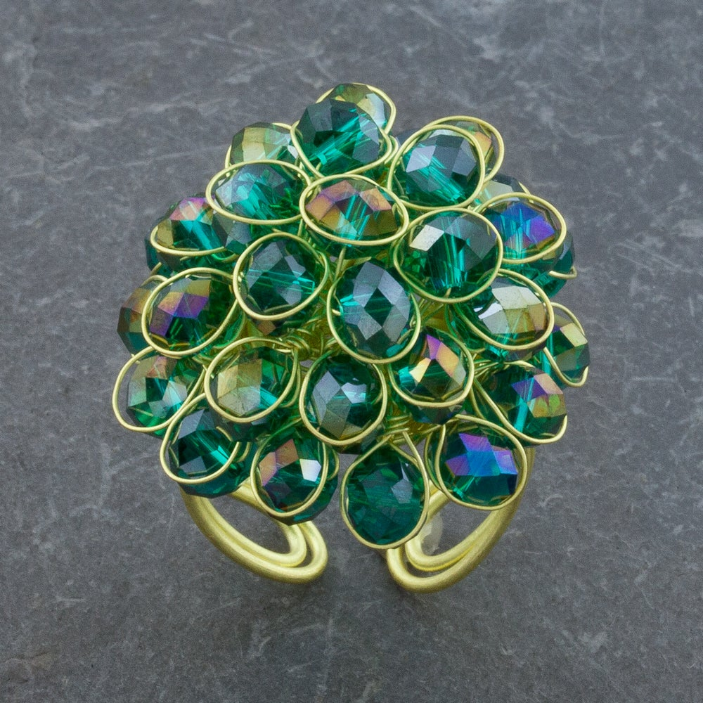 Blue Green Crystal Glass Adjustable Size Cluster Brass Ring (Thailand)