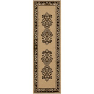 Sheffield Beige Border Indoor/Outdoor Rug (2'3 x 7'9)