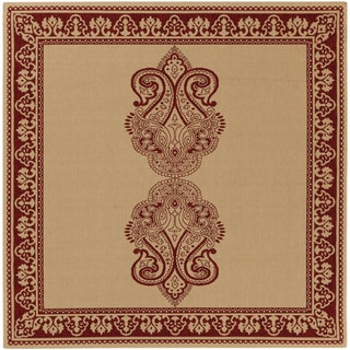 Stirling Burgundy Border Indoor/Outdoor Rug (7'3 x 7'3)