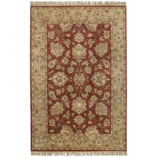 Hand-knotted Moreton Burgundy New Zealand Wool Rug (5' x 8')
