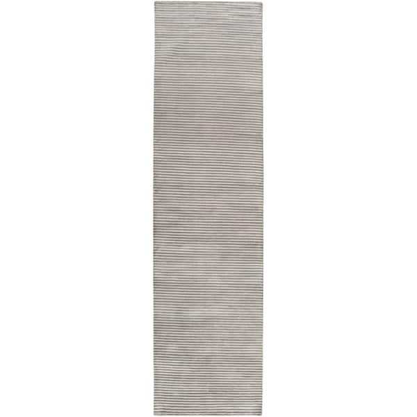 Hand-knotted Aitkin Silver New Zealand Wool Rug (2'6 x 10')
