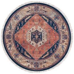 Hand-knotted Adana Navy Blue New Zealand Wool Rug (8' Round)
