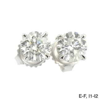 Auriya Platinum 3/4ct TDW Clarity-enhanced Diamond Stud Earrings