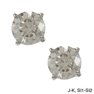 Auriya Platinum 1ct TDW Clarity-enhanced Diamond Stud Earrings (J-K, SI1-SI2)