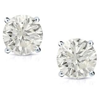 Auriya Platinum 1ct TDW Clarity-enhanced Diamond Stud Earrings (J-K, SI1-SI2)