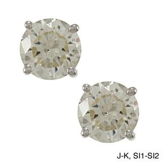18k Gold 3/4ct TDW Clarity-enhanced Diamond Stud Earrings (J-K, SI1-SI2)