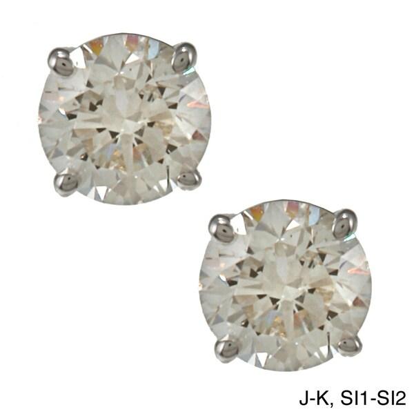 18k Gold 1 1/4ct TDW Clarity-enhanced Diamond Stud Earrings (J-K, SI1-SI2)
