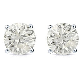 18k Gold 1 1/4ct TDW Clarity-enhanced Diamond Stud Earrings (J-K, SI1-SI2)