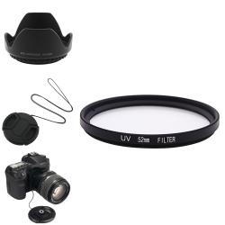 BasAcc Lens Hood/ Cap/ Filter/ Holder for Nikon D5100/ D3100/ 52-mm