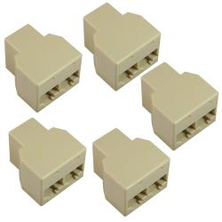BasAcc RJ45 1 x 2 Ethernet Splitter Connector (Pack of 5)
